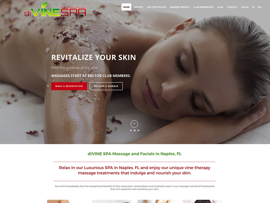 diVINE SPA Web Design
